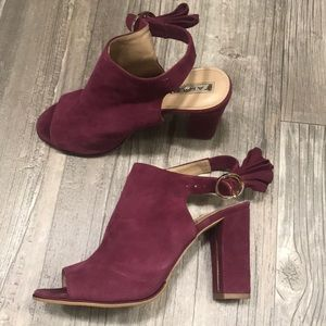 Tahari happy suede peep toe bootie in burgundy